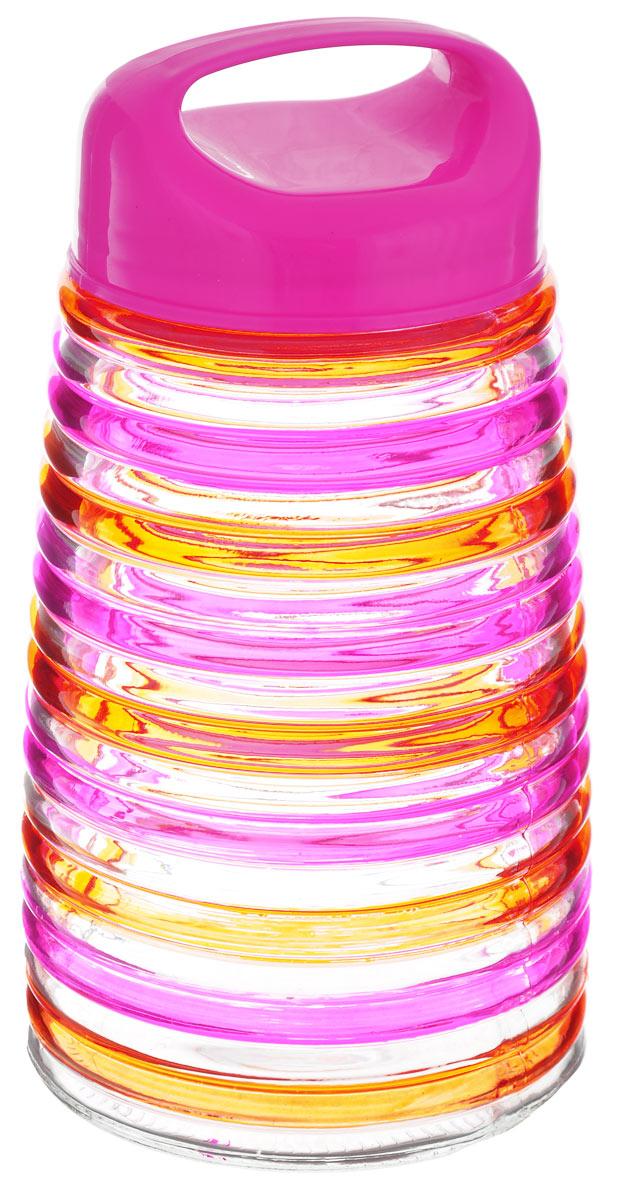 Банка для сыпучих продуктов Bohmann Кольца, цвет: розовый, оранжевый, 1,6 л01346BHGNEWБанка для сыпучих продуктов Bohmann Кольца изготовлена из прочного прозрачного стекла. Емкость снабжена пластиковой крышкой, которая плотно и герметично закрывается, дольше сохраняя аромат и свежесть содержимого. Крышка оснащена удобной ручкой. Банка декорирована рельефным изображением цветных полосок. Изделие предназначено для хранения различных сыпучих продуктов: круп, чая, сахара, орехов и многого другого. Функциональная и вместительная, такая банка станет незаменимым аксессуаром на любой кухне. Диаметр (по верхнему краю): 9 см. Высота (без учета крышки): 20 см.