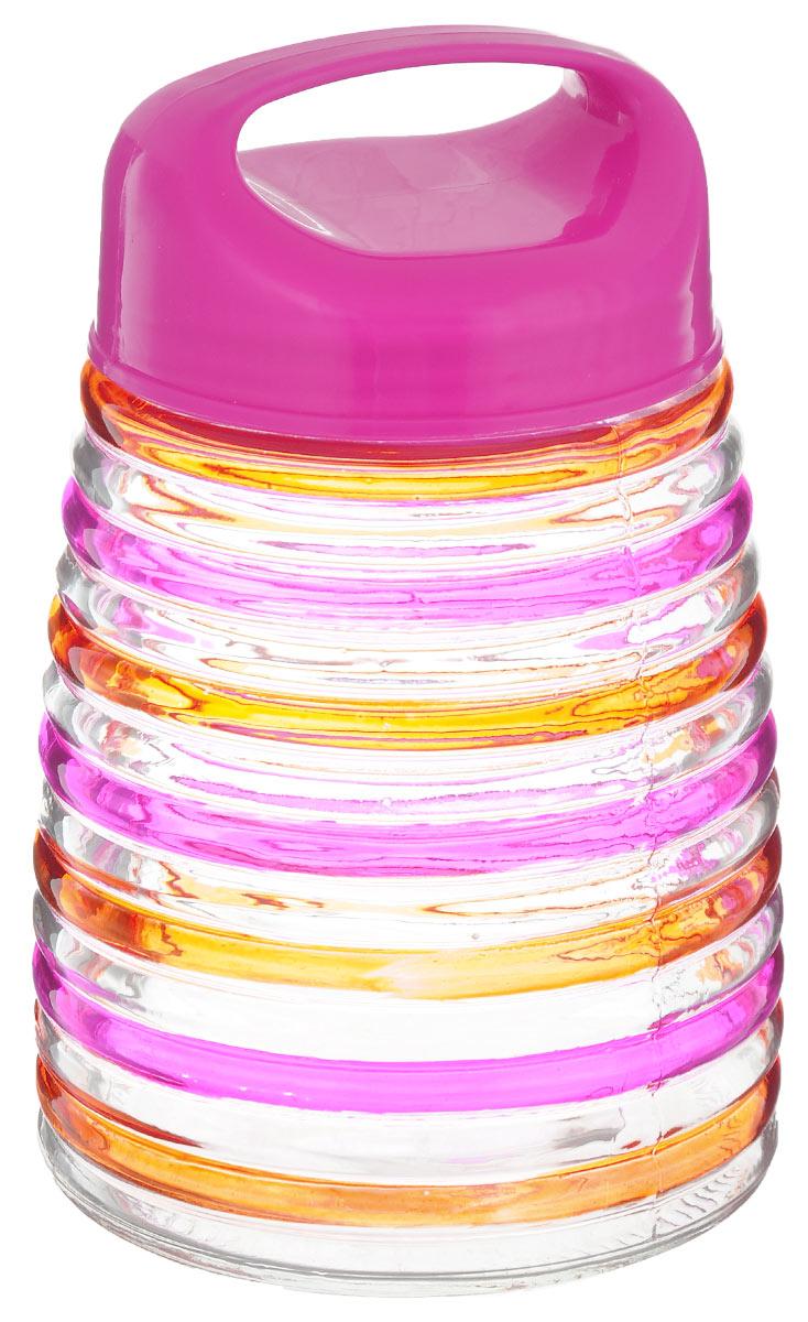 Банка для сыпучих продуктов Bohmann Кольца, цвет: розовый, оранжевый, 1,2 л01345BHGNEWБанка для сыпучих продуктов Bohmann Кольца изготовлена из прочного прозрачного стекла. Емкость снабжена пластиковой крышкой, которая плотно и герметично закрывается, дольше сохраняя аромат и свежесть содержимого. Крышка оснащена удобной ручкой. Банка декорирована рельефным изображением цветных полосок. Изделие предназначено для хранения различных сыпучих продуктов: круп, чая, сахара, орехов и многого другого. Функциональная и вместительная, такая банка станет незаменимым аксессуаром на любой кухне. Диаметр (по верхнему краю): 9 см. Высота (без учета крышки): 16 см.