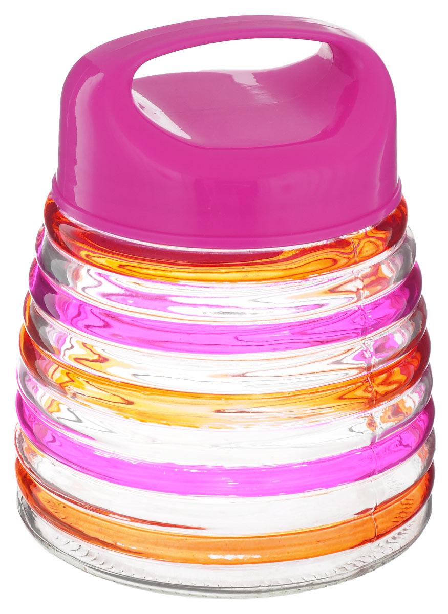 Банка для сыпучих продуктов Bohmann Кольца, цвет: розовый, оранжевый, 750 мл01344BHGNEWБанка для сыпучих продуктов Bohmann Кольца изготовлена из прочного прозрачного стекла. Емкость снабжена пластиковой крышкой, которая плотно и герметично закрывается, дольше сохраняя аромат и свежесть содержимого. Крышка оснащена удобной ручкой. Банка декорирована рельефным изображением цветных полосок. Изделие предназначено для хранения различных сыпучих продуктов: круп, чая, сахара, орехов и многого другого. Функциональная и вместительная, такая банка станет незаменимым аксессуаром на любой кухне. Диаметр (по верхнему краю): 9 см. Высота (без учета крышки): 12,5 см.
