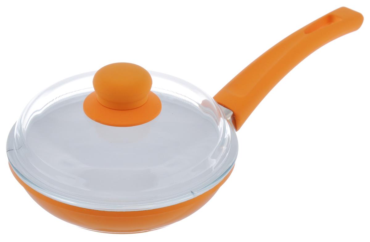 Сковорода BartonSteel с крышкой, с керамическим покрытием, цвет: оранжевый. Диаметр 18 см7018BS/NEW_оранжевыйСковорода BartonSteel изготовлена из высококачественного алюминия. Внутреннее керамическое покрытие абсолютно безопасно для здоровья человека и окружающей среды. Кроме того, с таким покрытием пища не пригорает и не прилипает к стенкам. Готовить можно с минимальным количеством подсолнечного масла. Сковорода быстро разогревается, распределяя тепло по всей поверхности, что позволяет готовить в энергосберегающем режиме, значительно сокращая время, проведенное у плиты. Сковорода оснащена удобной ручкой, выполненной из бакелита с силиконовым покрытием. Такая ручка не нагревается в процессе готовки и обеспечивает надежный хват. Крышка изготовлена из жаропрочного стекла. Благодаря такой крышке можно следить за приготовлением пищи без потери тепла. Подходит для всех типов плит, включая индукционные. Можно мыть в посудомоечной машине. Диаметр сковороды: 18 см. Высота стенки: 4,5 см. Толщина стенки: 4 мм. ...