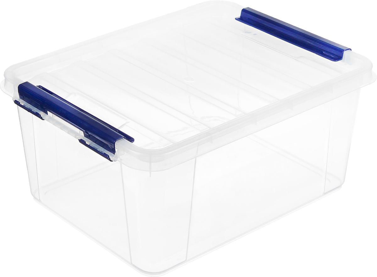 Ящик Полимербыт Профи, цвет: прозрачный, синий, 41 см х 29,5 см х 18,3 смС508_прозрачный, синийПрямоугольный ящик Полимербыт Профи, выполненный из высококачественного пластика, оснащен плотно закрывающейся крышкой. Подходит для хранения различных бытовых вещей. Ящик Полимербыт Профи очень вместителен и поможет вам хранить все необходимое в одном месте.