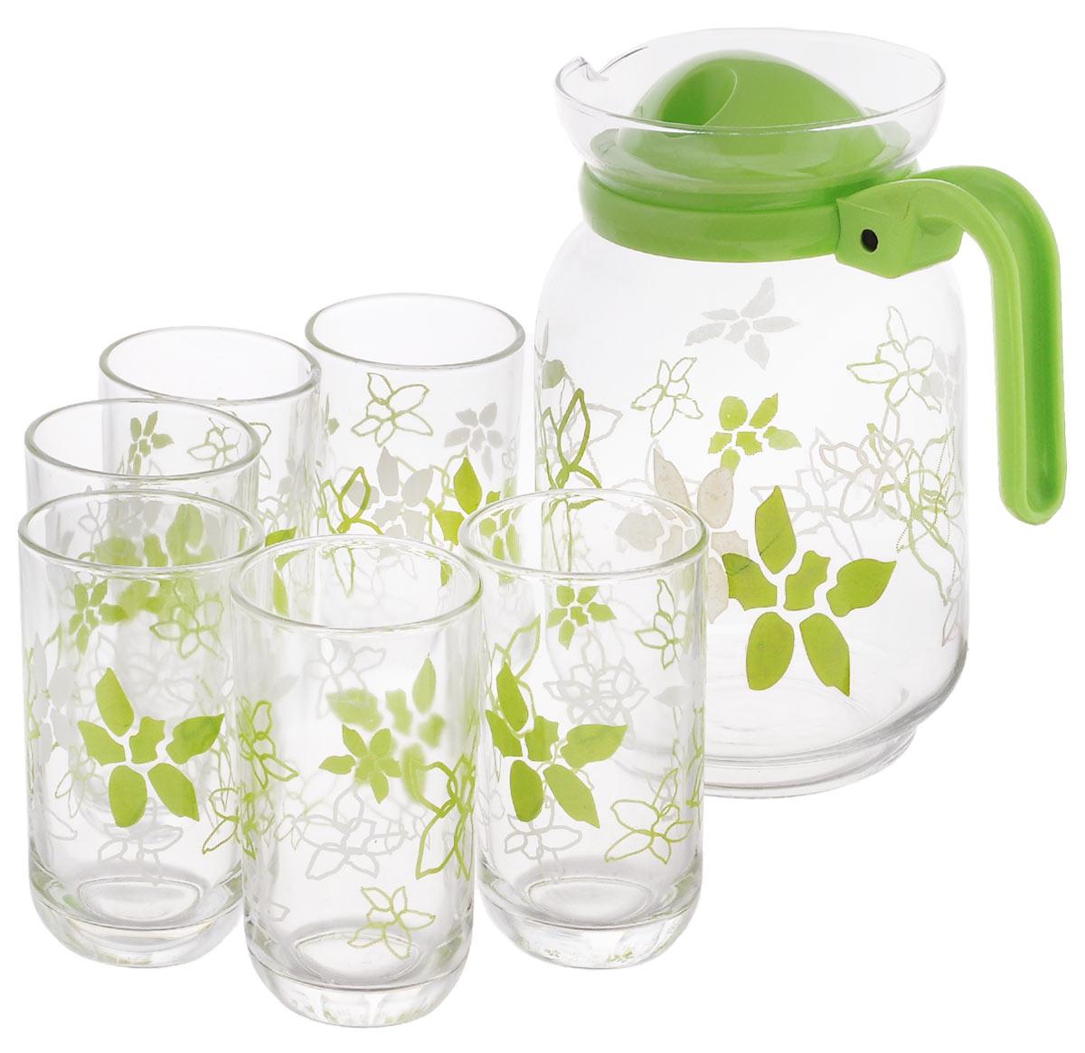 Набор для сока Miolla Лилия, цвет: прозрачный, зеленый, 7 предметов2009009U_зеленыйНабор для сока Miolla Лилия выполнен из высококачественного стекла. Набор состоит из кувшина с пластиковой крышкой и 6 стаканов. Графин и стаканы выполнены в оригинальном дизайне и украсят любой праздничный стол. Благодаря такому набору пить напитки будет еще вкуснее. Набор для сока Miolla Лилия станет также отличным подарком на любой праздник. Высота кувшина: 21 см. Объем кувшина: 1,7 л. Диаметр кувшина по верхнему краю: 10,5 см. Диаметр дна кувшина: 9 см. Высота стакана: 11,5 см. Объем стакана: 250 мл. Диаметр стакана по верхнему краю: 6,5 см. Диаметр дна стакана: 4,5 см.