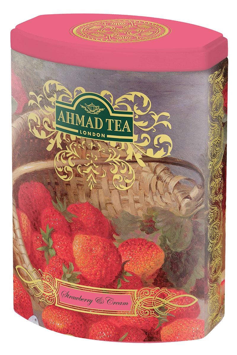 Ahmad Tea Strawberry and Cream черный листовой чай, 100 г (ж/б)1360Сочетание клубники со сливками - классический десертный дуэт, в котором главную ноту играет клубника в томном сливочном соусе. В рецепте Strawberry and Cream от Ahmad Tea добавлена ваниль, которая усложняет бархатный вкус черного цейлонского чая.