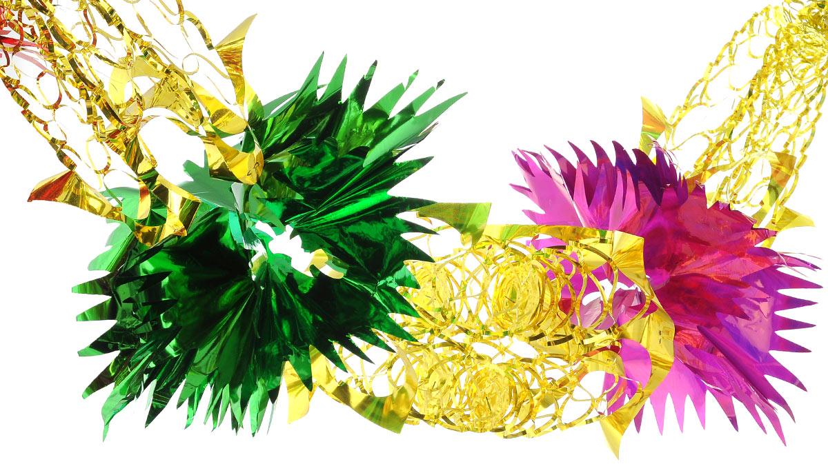 Новогодняя гирлянда EuroHouse, цвет: зеленый, красный, желтый, длина 2,4 мЕХ 9158Новогодняя гирлянда EuroHouse состоит из основной части и фигурок с рваными краями. Прекрасно подойдет для декора дома или офиса. Украшение, выполненное из ПЭТ (полиэтилентерефталата), легко складывается и раскладывается. Новогодние украшения несут в себе волшебство и красоту праздника. Они помогут вам украсить дом к предстоящим праздникам и оживить интерьер по вашему вкусу. Создайте в доме атмосферу тепла, веселья и радости, украшая его всей семьей. Размер фигурки (в сложенном виде): 25 см х 25 см.