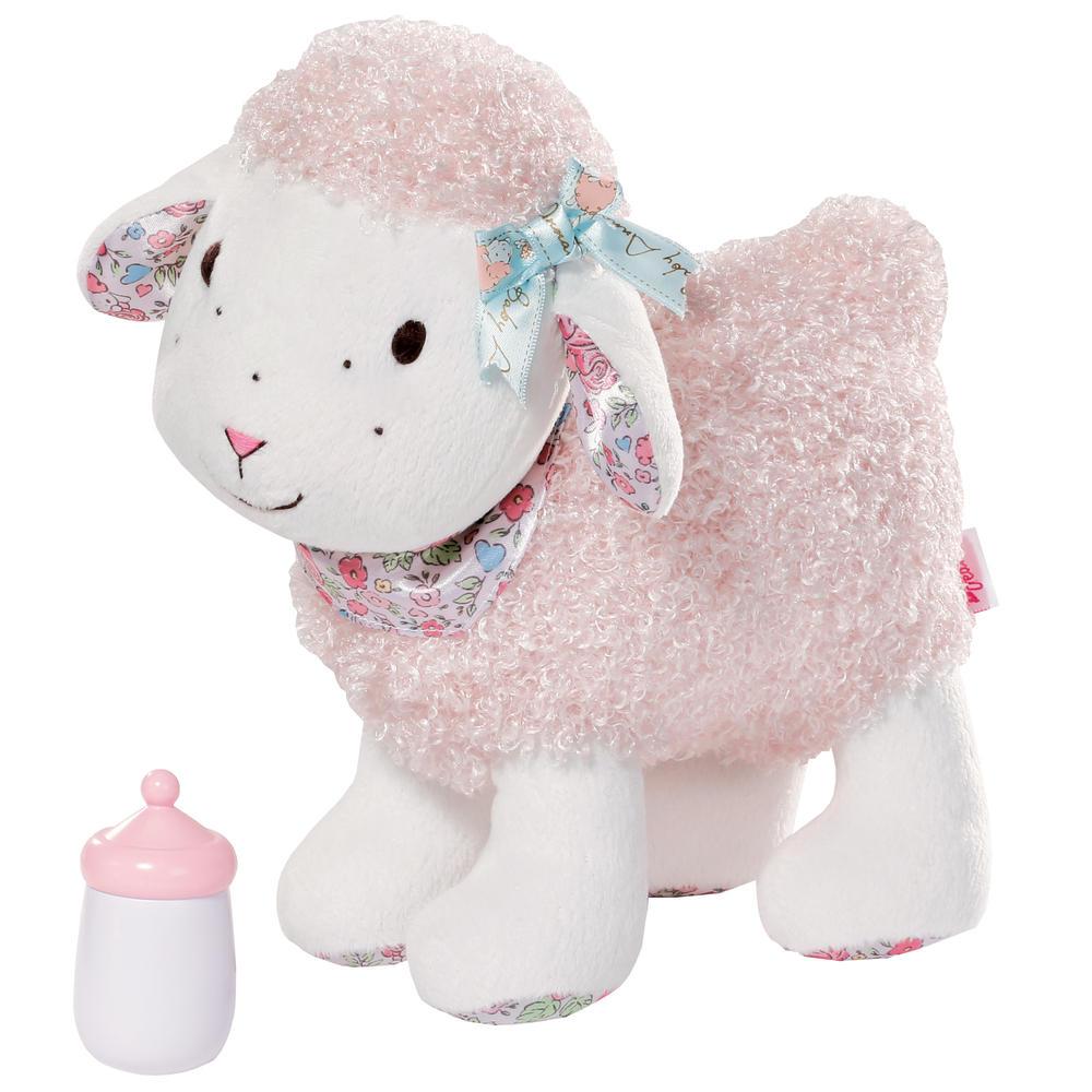 Baby Annabell Анимированная игрушка Овечка793-770Очаровательная анимированная игрушка Baby Annabell Овечка непременно заставит улыбнуться каждого, кто ее увидит. Игрушка выполнена из мягкого текстильного материала в виде веселой овечки с курчавой шерсткой. Глазки и носик овечки вышиты нитками Нажмите на спинку овечки - и она начнет задорно блеять и пойдет вперед, двигая ножками. В комплект входит бутылочка для овечки. Игры с такой игрушкой помогают малышу развить воображение, творческое мышление, способствуют усвоению коммуникативных навыков. Такая игрушка надолго увлечет вашего ребенка и обязательно станет его любимой игрушкой. Рекомендуется докупить 3 батарейки напряжением 1,5V типа AAА (товар комплектуется демонстрационными).