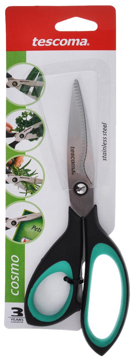 Ножницы для зелени Tescoma Cosmo, цвет: зеленый, черный, длина 22 см888420_зеленый, черныйНожницы Tescoma Cosmo предназначены для резки трав и зелени, например: петрушки, укропа, зеленого лука. Также ножницы пригодны для резки всех обычных материалов - бумаги, ткани и многого другого. Лезвия изготовлены из первоклассной нержавеющей стали. Комфортные ручки ножниц выполнены из прочного пластика с противоскользящей обработкой для безопасного использования. Ножницы Tescoma Cosmo это универсальный помощник в вашем доме! Дина лезвия: 8 см. Длина ножниц: 22 см.