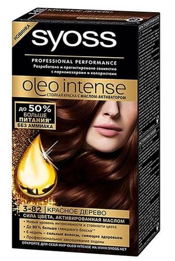 Syoss Краска для волос Oleo Intense, 3-82. Красное дерево93935005Краска для волос Syoss Oleo Intense - первая стойкая крем-маска на основе масла-активатора, без аммиака и со 100% чистыми маслами - для высокой интенсивности и стойкости цвета, профессионального закрашивания седины и до 90% больше блеска. Насыщенная формула крем-масла наносится без подтеков. 100% чистые масла работают как усилитель цвета: технология Oleo Intense использует силу и свойство масел максимизировать действие красителя. Абсолютно без аммиака, для оптимального комфорта кожи головы. Одновременно краска обеспечивает экстра-восстановление волос питательными маслами, делая волосы до 40% более мягкими. Волосы выглядят здоровыми и сильными 6 недель.