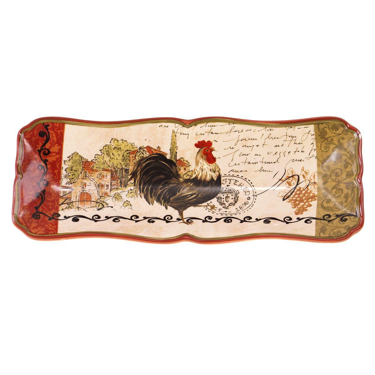 Поднос для хлеба Certified International Тосканский петух, 37 х 13 см63213Изысканный поднос Certified International Тосканский петух выполнен из высококачественной глазурованной керамики. Изделие украшено оригинальным рисунком петуха. Такой поднос идеально подойдет для сервировки хлеба на праздничном столе. Он придется по вкусу и ценителям классики, и тем, кто предпочитает утонченность и изысканность. Размер подноса: 37 х 13 см.