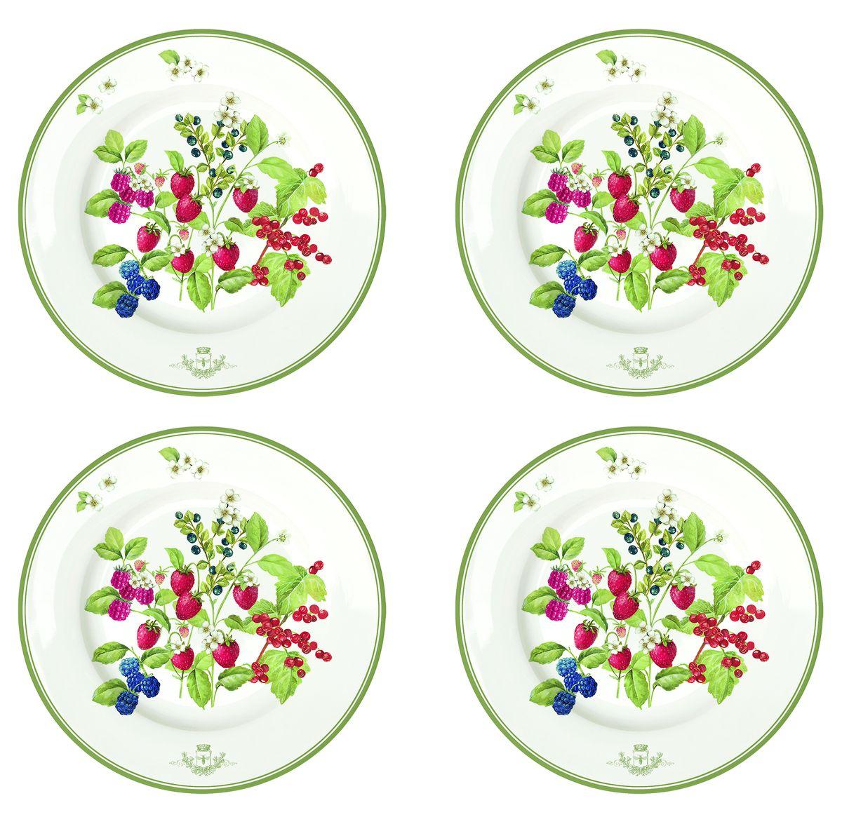 Набор тарелок Nuova R2S Лесные ягоды, диаметр 19 см, 4 шт976BERRНабор Nuova R2S Лесные ягоды, выполненный из высококачественного фарфора, состоит из четырех тарелок и предназначен для красивой сервировки различных блюд. Изделия оформлены красочным изображением ягод и сочетают в себе стильный дизайн с максимальной функциональностью. Оригинальность оформления придется по вкусу и ценителям классики, и тем, кто предпочитает утонченность и изящность. Можно использовать в микроволновой печи и мыть в посудомоечной машине. Диаметр тарелки: 19 см. Высота тарелки: 1,8 см.