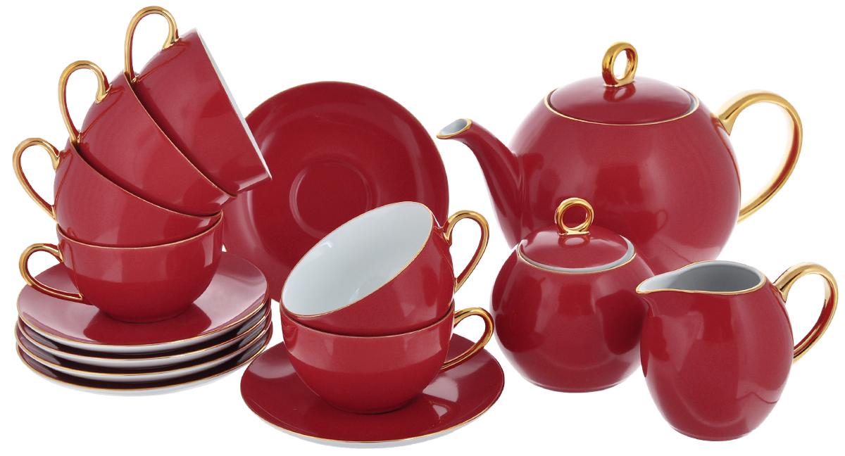 Сервиз чайный Yves De La Rosiere Monalisa, цвет: красный, золотистый, 15 предметов5 595 113 125Сервиз чайный Yves De La Rosiere Monalisa состоит из 6 чашек, 6 блюдец, заварочного чайника, молочника и сахарницы с крышкой, изготовленных из фарфора. Изящный дизайн придется по вкусу и ценителям классики, и тем, кто предпочитает утонченность и изысканность. Он настроит на позитивный лад и подарит хорошее настроение с самого утра. Сервиз чайный - идеальный и необходимый подарок для вашего дома и для ваших друзей в праздники, юбилеи и торжества! Он также станет отличным корпоративным подарком и украшением любой кухни. Количество чашек: 6 шт. Диаметр чашек по верхнему краю: 9,2 см. Высота чашек: 5,5 см. Объем чашек: 210 мл. Количество блюдец: 6 шт. Диаметр блюдец: 15 см. Высота блюдец: 2 см. Высота сахарницы (без учета крышки): 7,5 см. Диаметр сахарницы по верхнему краю: 6,5 см. Объем сахарницы: 230 мл. Высота чайника (без учета крышки): 12,5 см. Диаметр чайника по верхнему краю: 9,2 см. ...