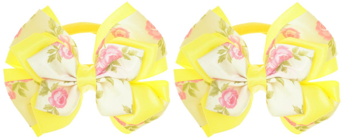 Babys Joy Резинка для волос цвет желтый кремовый 2 шт MN 143/2MN 143/2_желтыйРезинка для волос Babys Joy, выполненная из текстиля, дополнена декоративным элементом в форме банта-бабочки, сплетенного из двух атласных лент - однотонной и оформленной принтом в виде цветов. Резинка для волос Babys Joy надежно зафиксирует волосы и подчеркнет красоту прически вашей маленькой модницы. В упаковке: 2 резинки. Рекомендовано для детей старше трех лет.
