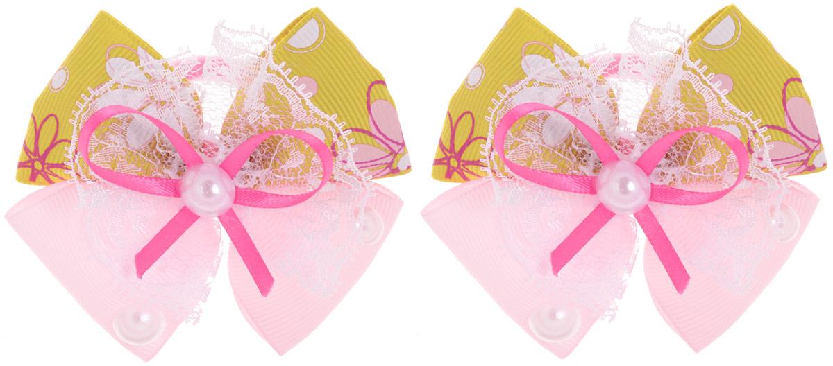 Babys Joy Резинка для волос цвет горчичный розовый 2 шт MN 135MN 133_банты_горчичный/розовыйРезинка для волос Babys Joy изготовлена из текстиля и дополнена милым бантиком из атласа, который оформлен цветочным принтом, кружевом и пластиковыми бусинками. Резинка для волос Babys Joy надежно зафиксирует волосы и подчеркнет красоту прически вашей маленькой принцессы. В упаковке: 2 резинки. Рекомендовано для детей старше трех лет.