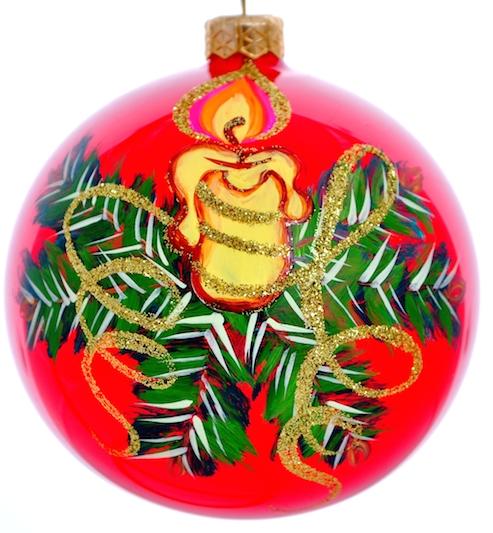 Новогоднее подвесное украшение Свеча с наплывом, цвет: красный, диаметр 10 смH-100-2984-N-Свеча с наплывомНовогоднее украшение Свеча с наплывом отлично подойдет для украшения вашего дома и новогодней ели. Игрушка выполнена из тонкого стекла в виде шара и декорирована изображением зажженной свечи и еловых ветвей. Украшение оснащено специальной металлической петелькой, в которую можно продеть нитку или ленту для подвешивания. Елочная игрушка - символ Нового года. Она несет в себе волшебство и красоту праздника. Создайте в своем доме атмосферу веселья и радости, украшая всей семьей новогоднюю елку нарядными игрушками, которые будут из года в год накапливать теплоту воспоминаний.