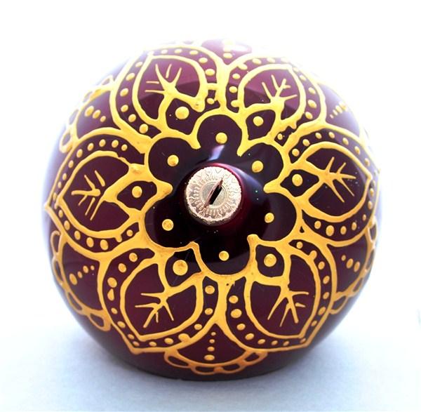 """Новогоднее подвесное украшение """"Шапка Мономаха"""", цвет: бордовый, золотой, диаметр 100мм. Ручная роспись Фабрика елочных игрушек им"""