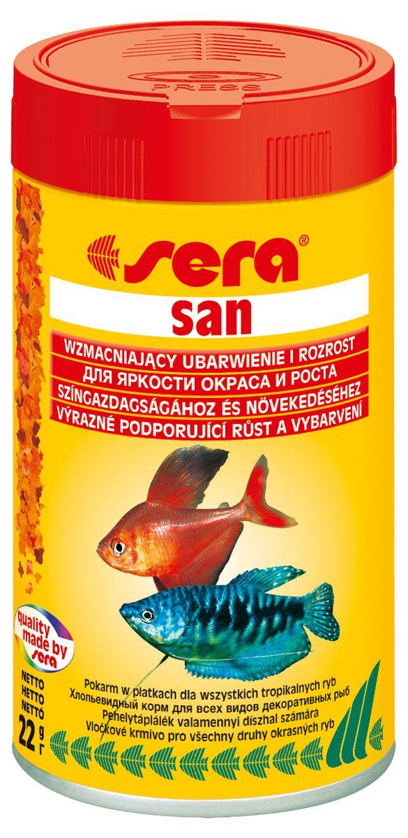 Sera San Корм для декоративных рыб, улучшение окраски, хлопья 100мл15968Премиум-хлопья усиливающие интенсивность окраса. Благодаря сбалансированному уровню содержания белков этот хлопьевидный корм премиум-класса от sera способствует быстрому и здоровому росту. Полноценный состав из более чем 40 ингредиентов обеспечивает ежедневные потребности в питательных веществах типичного сообщества рыб. Естественная окраска рыб усиливается особенно хорошо, благодаря высокому содержанию спирулины и натуральных каротиноидов.