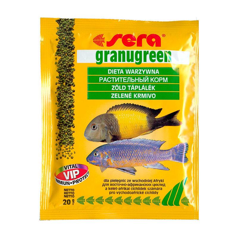 Sera Granugreen Корм для растительноядных цихлид, гранулы 20г15991Гранулированный корм для цихлид, усиливающий интенсивность окраса. Этот гранулированный корм имеет высокое процентное содержание высококачественных белков из водных организмов и поэтому предназначен для преимущественно хищных цихлид. При комбинировании с кормом sera гранугрин, грануред является интересным разнообразием также и для всеядных видов рыб. Вновь посаженные рыбы переходят на этот корм без проблем. Корм сохраняет свою форму и таким образом остается привлекательным для рыб и после погружения.