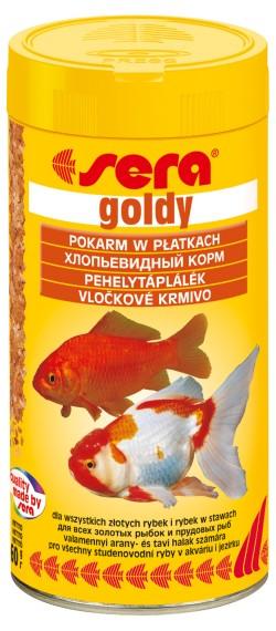 Sera Goldy Корм для золотых рыбок, хлопья 250мл+кондиционер 50мл16006Основной хлопьевидный корм для золотых рыбок и других холодноводных видов рыб. Эти нежные хлопья для всех золотых рыбок, даже для крайне требовательных причудливых форм, и других холодноводных видов рыб сбалансированы в соответствии с их специфической физиологией пищеварения. Этот основной корм предотвращает проблемы пищеварения, специфические для этих видов, и снабжает рыб всеми питательными веществами, необходимыми для здорового роста.