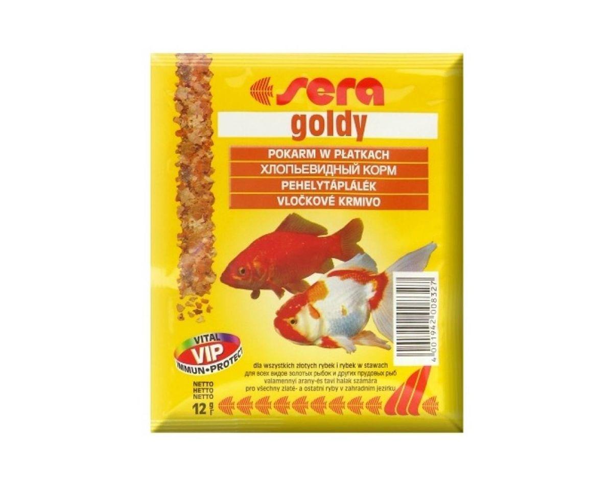 Sera Goldy Корм для золотых рыбок, хлопья 12г16007Основной хлопьевидный корм для золотых рыбок и других холодноводных видов рыб. Эти нежные хлопья для всех золотых рыбок, даже для крайне требовательных причудливых форм, и других холодноводных видов рыб сбалансированы в соответствии с их специфической физиологией пищеварения. Этот основной корм предотвращает проблемы пищеварения, специфические для этих видов, и снабжает рыб всеми питательными веществами, необходимыми для здорового роста.