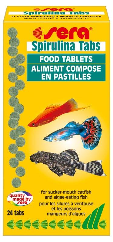 Sera Spirulina Tabs Корм для рыб 24таб16008Таблетированный корм высшего качества. sera Spirulina Tabs содержит 20% спирулины, также отборные растительные ингредиенты, такие как планктон, морские водоросли, шпинат и ценные травы.