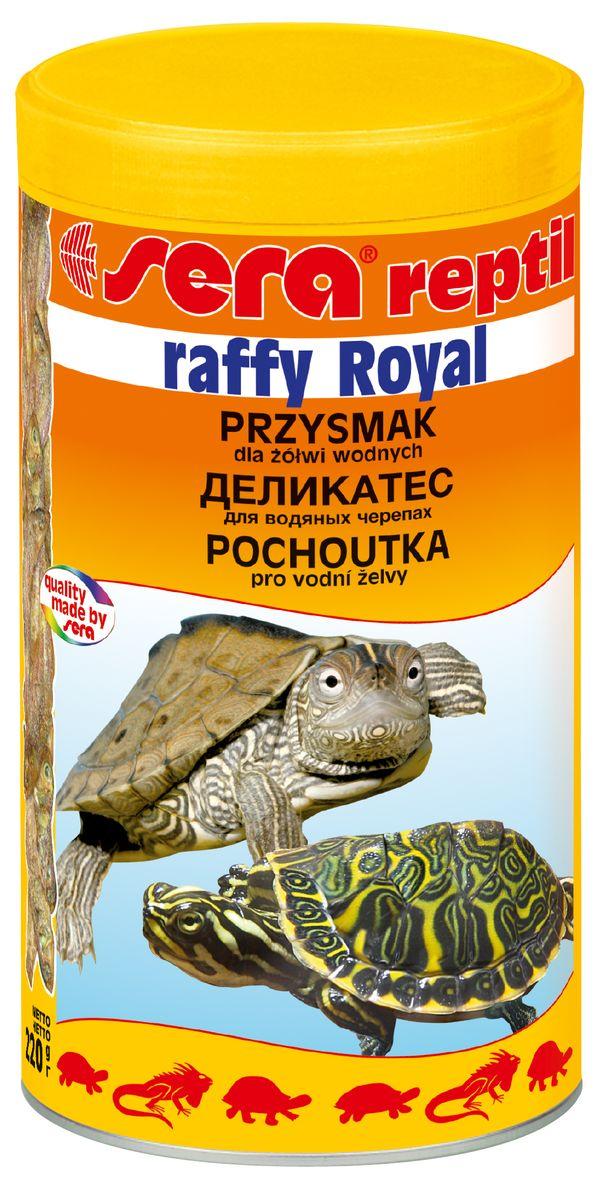 Sera Raffy Royal Корм для водяных черепах и хищных рыб 1000мл16012Смесь из анчоусов и креветок для рептилий и амфибий. Рыбы и креветки – важная часть рациона для водяных черепах и других плотоядных рептилий и амфибий. Эти лакомства богаты минералами и балластными веществами и содержат более 4% натурального кальция – основы для здорового роста костей и панциря. Этот корм – идеальное дополнение к sera раффи P (sera raffy P), sera раффи Минерал (sera raffy Mineral) и sera reptil Professional Карнивор (sera reptil Professional Carnivor). Благодаря высокому процентному содержанию в корме анчоуса, sera раффи Ройал также замечательно подходит в качестве деликатесного лакомства для хищных декоративных рыб.