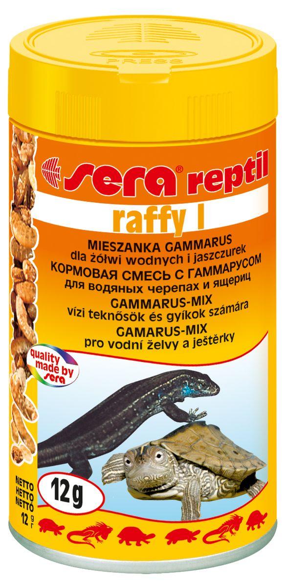 Корм для водных черепах и ящериц Sera Raffy I, 100 мл (12 г)16013Корм Sera Raffy I - это лакомство, состоящее из натурального гаммаруса, маленьких рыбок и криля. Лакомство, богатое минералами, микроэлементами и балластными веществами - для небольших, плотоядных рептилий. Ингредиенты: гаммарус (87%), рыба, криль. Аналитический состав: протеин 52,5%, жиры 7,0%, клетчатка 6,9%, влажность 8,4%, зольные вещества 17,6%, кальций 5,0%, фосфор 1,2%. Уважаемые клиенты! Обращаем ваше внимание на возможные изменения в дизайне упаковки. Качественные характеристики товара остаются неизменными. Поставка осуществляется в зависимости от наличия на складе.