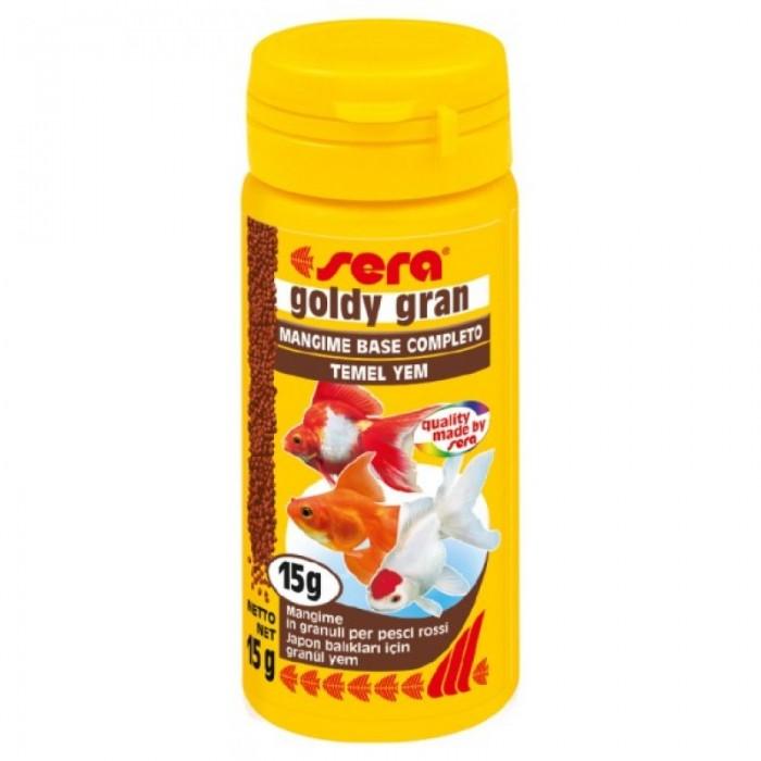 Sera Goldy Gran Корм для золотых рыбок, гранулы 50мл21849Sera goldy gran- это питательный и легко усваиваемый гранулированный корм для всех декоративных холодноводных рыб.