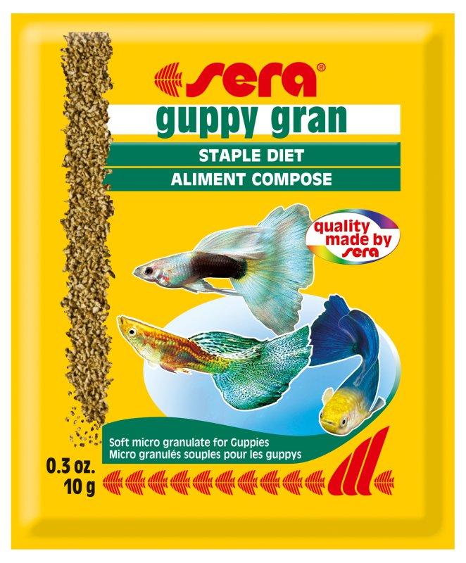 Sera Guppy Gran Корм для гуппи, гранулы 10г37974Специальный корм с ценными растительными компонентами для гуппи и других мелких рыб.
