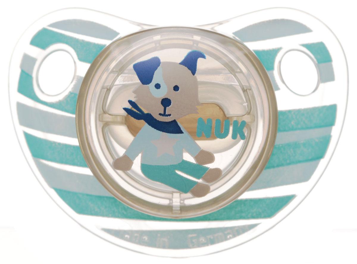 NUK Пустышка ортодонтическая для сна Trendline Adore от 18 до 36 месяцев цвет голубой бирюзовый