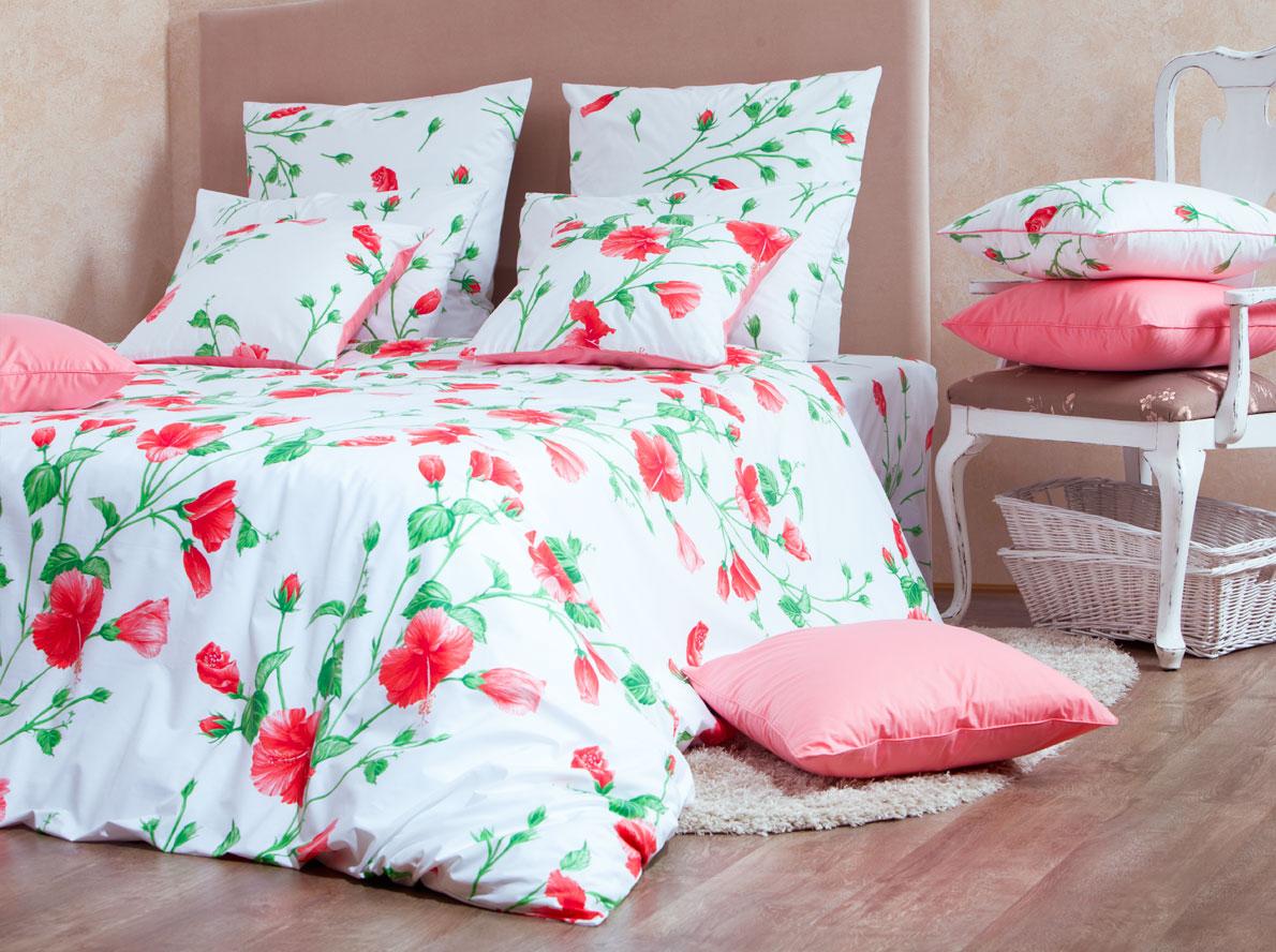 """Комплект белья Mirarossi """"Francesca"""", 1,5-спальный, наволочки 70х70, цвет: белый, красный, зеленый"""