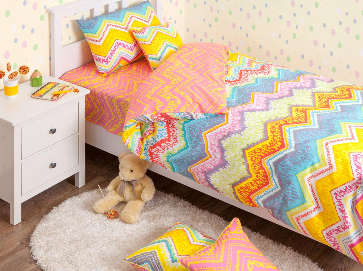 Хлопковый Край Комплект детского постельного белья Zigzag Orange 1,5-спальный наволочка 70 см х 70 см