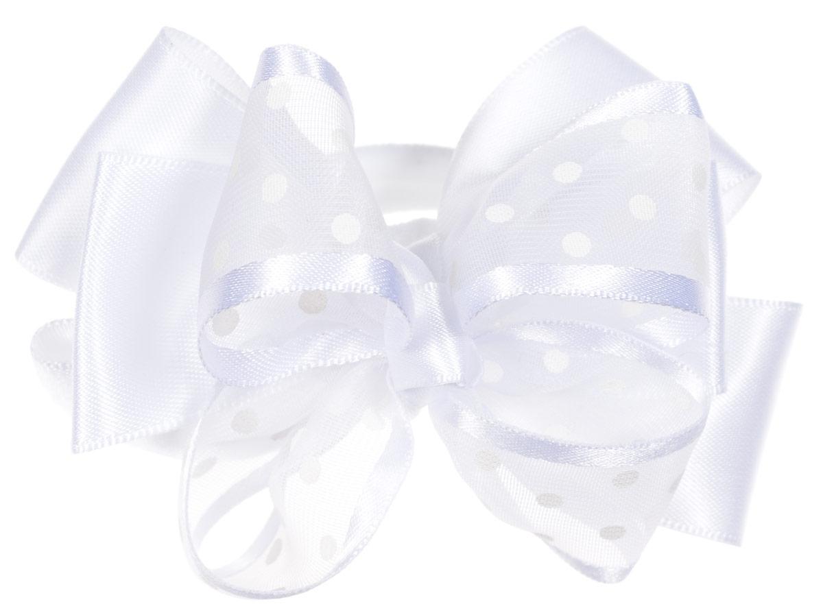 Babys Joy Резинка для волос цвет белый 2 шт MN 203/2MN 203/2_белый/горошекРезинка для волос Babys Joy, изготовлена из текстиля, выполнена в виде банта-бабочки, сплетенного из двух лент - полупрозрачной из органзы, оформленной принтом в виде горошка, и атласной. Резинка для волос Babys Joy надежно зафиксирует волосы и подчеркнет красоту прически вашей маленькой модницы В упаковке: 2 резинки. Рекомендовано для детей старше трех лет.