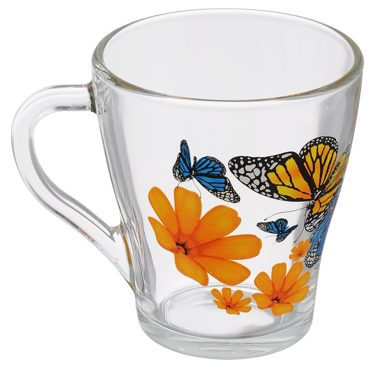 Кружка OSZ Грация Бабочки и оранжевые цветы, цвет: прозрачный, 280 мл13с1649 ДЗ БиО ЦветыКружка OSZ Грация Бабочки и оранжевые цветы изготовлена из бесцветного стекла и украшена ярким рисунком. Идеально подходит для сервировки стола. Кружка не только украсит ваш кухонный стол, но подчеркнет прекрасный вкус хозяйки. Диаметр кружки (по верхнему краю): 8,5 см. Диаметр основания: 5 см. Ширина кружки с учетом ручки: 11,5 см. Высота кружки: 9 см. Объем кружки: 280 мл.