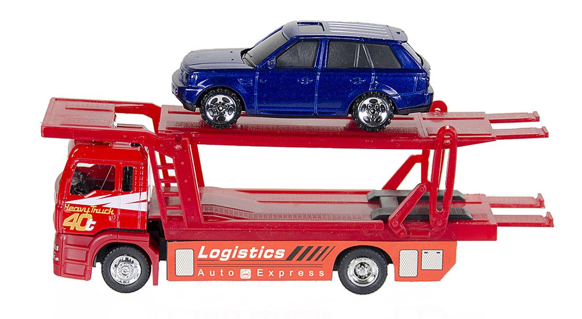 Big motors Игровой набор Автовоз и машинка, цвет красный, синийJL81030_синяя легковушкаАвтовоз Big motors, выполненный из безопасного пластика, станет любимой игрушкой вашего малыша. Автовоз имеет длинный вместительный прицеп, в котором без труда помещается легковая машинка. У прицепа может подниматься и опускаться верхняя часть. На кабине автовоза имеется специальная кнопка, при нажатии на которую, появляются световые и звуковые эффекты. Игры с этой яркой машинкой развивают концентрацию внимания, координацию движений, мелкую и крупную моторику, цветовое восприятие и воображение. Ваш ребенок будет часами играть с этой машинкой, придумывая различные истории. Для работы требуются 3 батарейки LR44 (комплектуется демонстрационными).