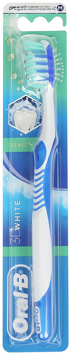 Oral-B Зубная щетка 3D White. Свежесть, средняя жесткость, цвет: синийORL-75050103_синийКлинически доказано, что зубная щетка Oral-B 3D White. Свежесть с поверхностью для чистки языка удаляет с языка бактерии - одну из причин неприятного запаха, тем самым делает дыхание до 6 раз более свежим. Многосекционные щетинки Power Tip бережно относятся к зубной эмали и помогают очищать труднодоступные зоны, где скапливается налет. Голубые щетинки Indicator обесцвечиваются наполовину, напоминая о необходимости замены щетки. Мягкие стимуляторы десен способствуют их здоровью и укреплению. Эргономичная рукоятка обеспечивает больше удобства и маневренности. Товар сертифицирован.