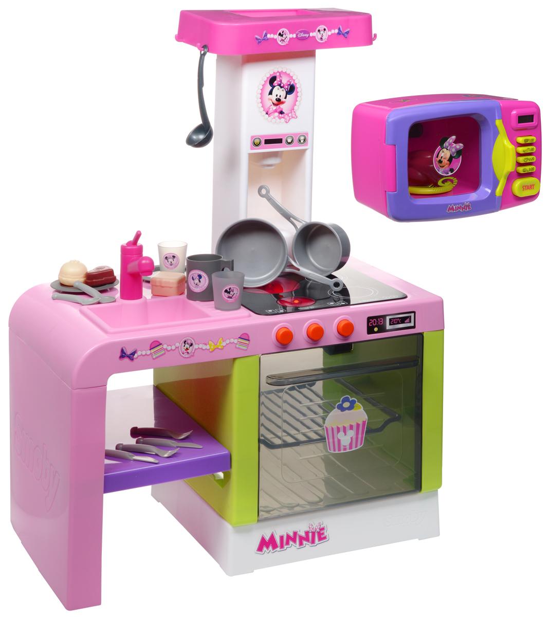 Smoby Кухня Cheftronic Minnie Mouse + Подарок Микроволновая печь Minnie Mouse24197РКухня Cheftronic Minnie - это компактная кухня со многими электронными функциями. Благодаря своим эргономичным размерам, она нуждается в минимальном пространстве для размещения в детской. Все как в настоящей кухне - мойка с краном (без воды), духовой шкаф с подсветкой, варочная панель (звуки шипения и варения), кофеварка с реалистичными звуками, полочки для размещения продуктов - все это позволяет почувствовать себя настоящей хозяйкой на куне. В комплекте 21 аксессуар: тарелки, ложки, вилки, ножи, чашка, половник, кастрюльки, коробочки с полуфабрикатами, продукты. Высота кухни: 69 см. Необходимо докупить 3 батарейки напряжением 1,5V типа АА (не входят в комплект). C микроволновой печью Minnie Mouse ваша малышка сможет почувствовать себя настоящим кулинаром. Микроволновка выполнена из безопасного пластика розового и сиреневого цветов и снабжена четырьмя кнопками для приготовления блюд, дисплеем, показывающим время приготовления,...