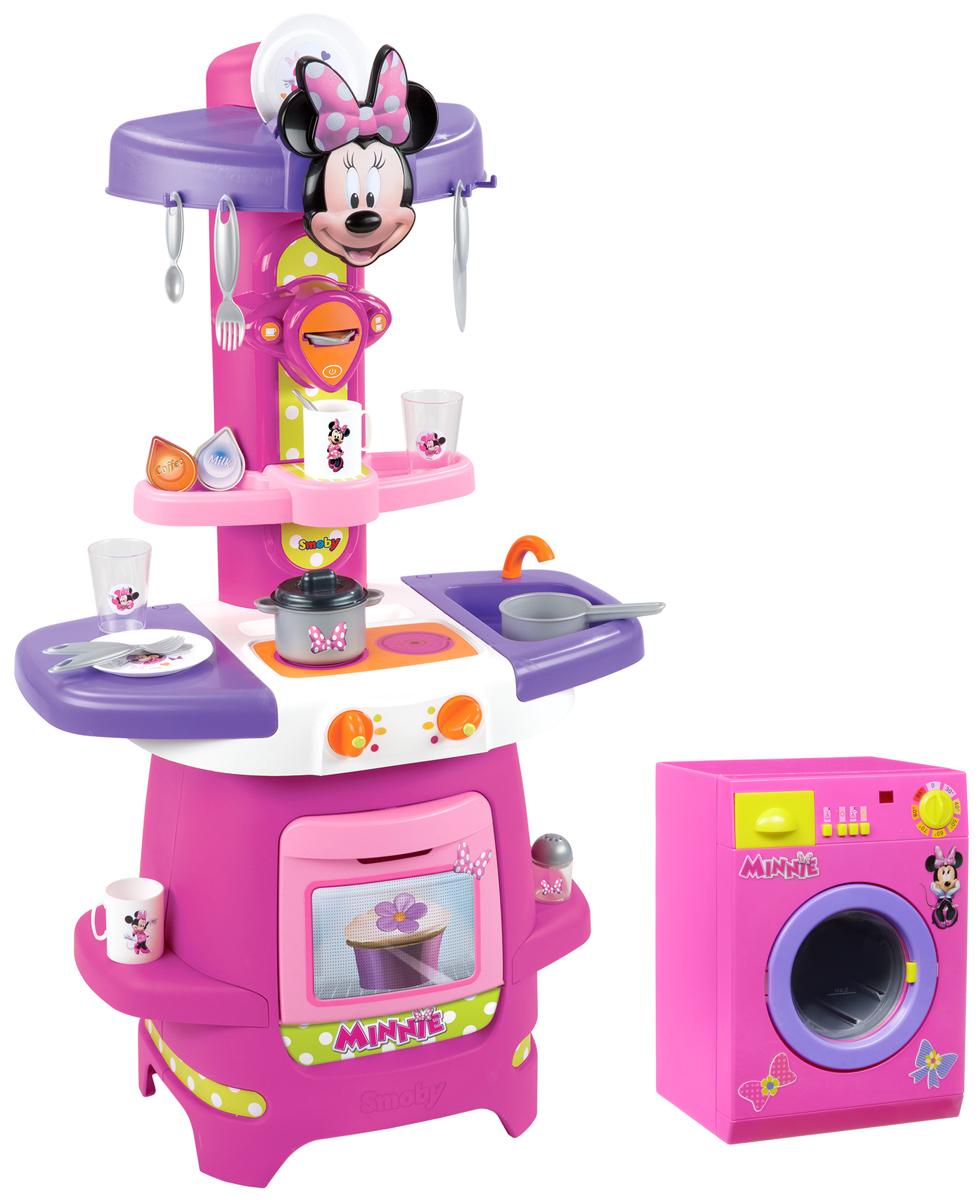 Smoby Игровая кухня Minnie Mouse + Подарок Стиральная машина Minnie Mouse24089РИгровой набор Minnie Mouse - это компактная кухня со многими электронными функциями. Благодаря своим эргономичным размерам, она нуждается в минимальном пространстве для размещения в детской. Все как в настоящей кухне - мойка с краном (без воды), открывающийся духовой шкаф, варочная панель, кофемашина, полочки для размещения продуктов - все это позволяет почувствовать себя настоящей хозяйкой на куне. В комплекте 19 аксессуаров: кружки, тарелки и столовые приборы. Высота кухни: 85 см. Стиральная машина Minnie Mouse позволит вашей малышке почувствовать себя настоящей хозяйкой. Машинка выполнена из яркого безопасного пластика и оснащена звуковыми и световыми эффектами. На ее корпусе расположены 4 кнопки, лампочка и ручка, поворачивающаяся со звуком трещотки. Необходимо загрузить одежду в барабан машинки, налить воду в контейнер для порошка и выбрать нужный режим стирки. Нажатия кнопок сопровождают реалистичные звуки, имитирующие работу настоящей машинки,...