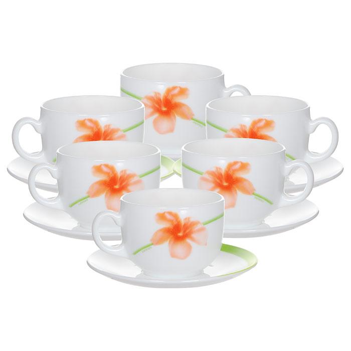 Набор чайный Luminarc Sweet Impression, цвет: белый, зеленый, оранжевый, 12 предметовE4943Чайный набор Luminarc Sweet Impression состоит из 6 чашек и 6 блюдец, изготовленных из высококачественного стекла и оформленных красочным рисунком. Изящный дизайн придется по вкусу и ценителям классики, и тем, кто предпочитает утонченность и изысканность. Чайный набор Luminarc Sweet Impression настроит на позитивный лад и подарит хорошее настроение с самого утра. Диаметр чашки (по верхнему краю): 8,5 см. Диаметр дна чашки: 4,2 см. Высота чашки: 6 см. Объем чашки: 220 мл. Диаметр блюдца (по верхнему краю): 14 см. Высота блюдца: 1,6 см.