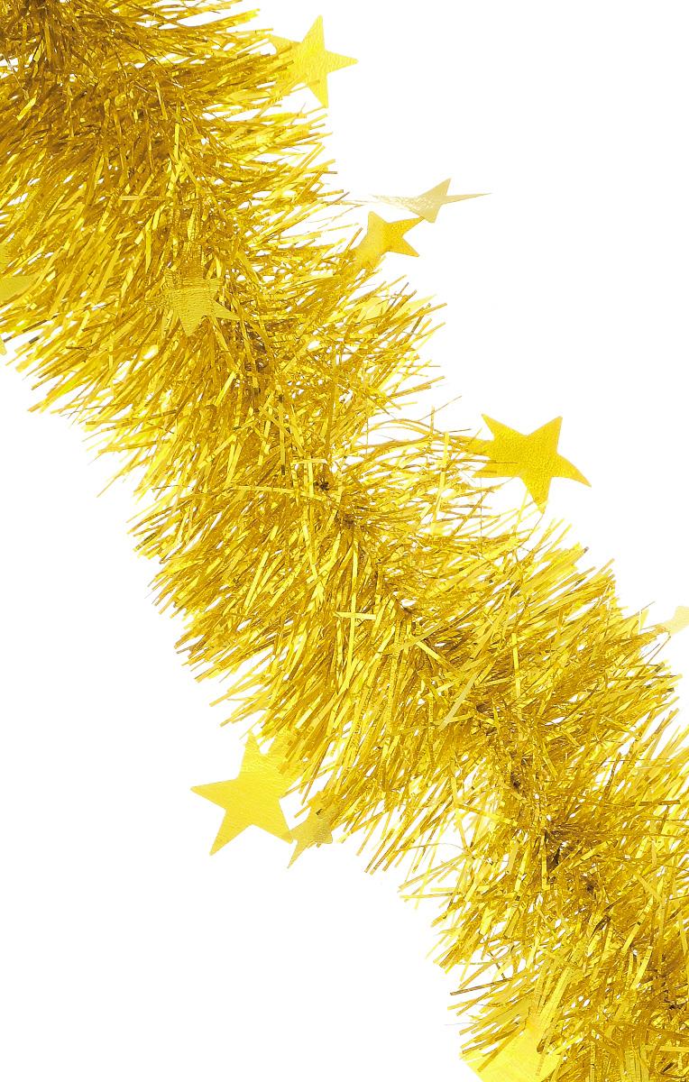 Мишура новогодняя Sima-land, цвет: золотистый, диаметр 9 см, длина 200 см. 706597706597_золотистыйМишура новогодняя Sima-land, выполненная из двухцветной фольги, поможет вам украсить свой дом к предстоящим праздникам. Мишура армирована, то есть имеет проволоку внутри и способна сохранять приданную ей форму. По всей длине изделие украшено фигурками из фольги в виде гофрированных звездочек. Новогодней мишурой можно украсить все, что угодно - елку, квартиру, дачу, офис - как внутри, так и снаружи. Можно сложить новогодние поздравления, буквы и цифры, мишурой можно украсить и дополнить гирлянды, можно выделить дверные колонны, оплести дверные проемы.