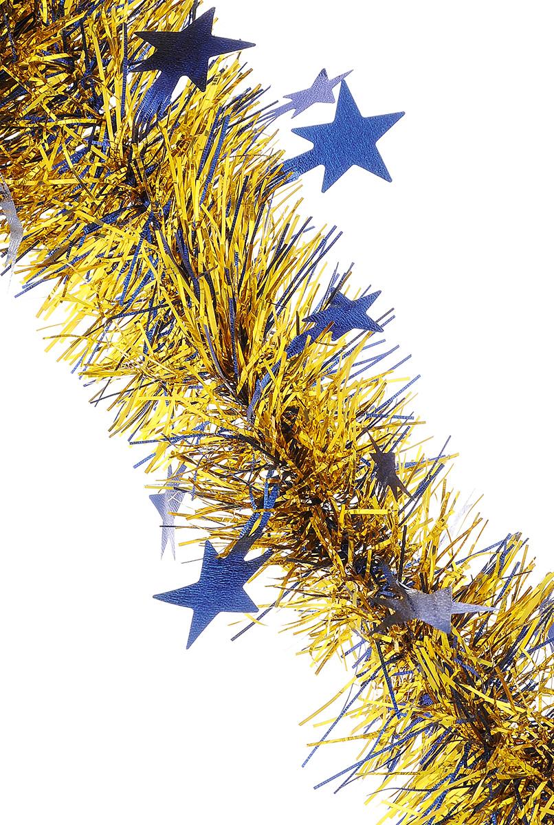 Мишура новогодняя Sima-land, цвет: синий, золотистый, диаметр 9 см, длина 200 см. 706597706597_синий, золотистыйМишура новогодняя Sima-land, выполненная из двухцветной фольги, поможет вам украсить свой дом к предстоящим праздникам. Мишура армирована, то есть имеет проволоку внутри и способна сохранять приданную ей форму. По всей длине изделие украшено фигурками из фольги в виде гофрированных звездочек. Новогодней мишурой можно украсить все, что угодно - елку, квартиру, дачу, офис - как внутри, так и снаружи. Можно сложить новогодние поздравления, буквы и цифры, мишурой можно украсить и дополнить гирлянды, можно выделить дверные колонны, оплести дверные проемы.