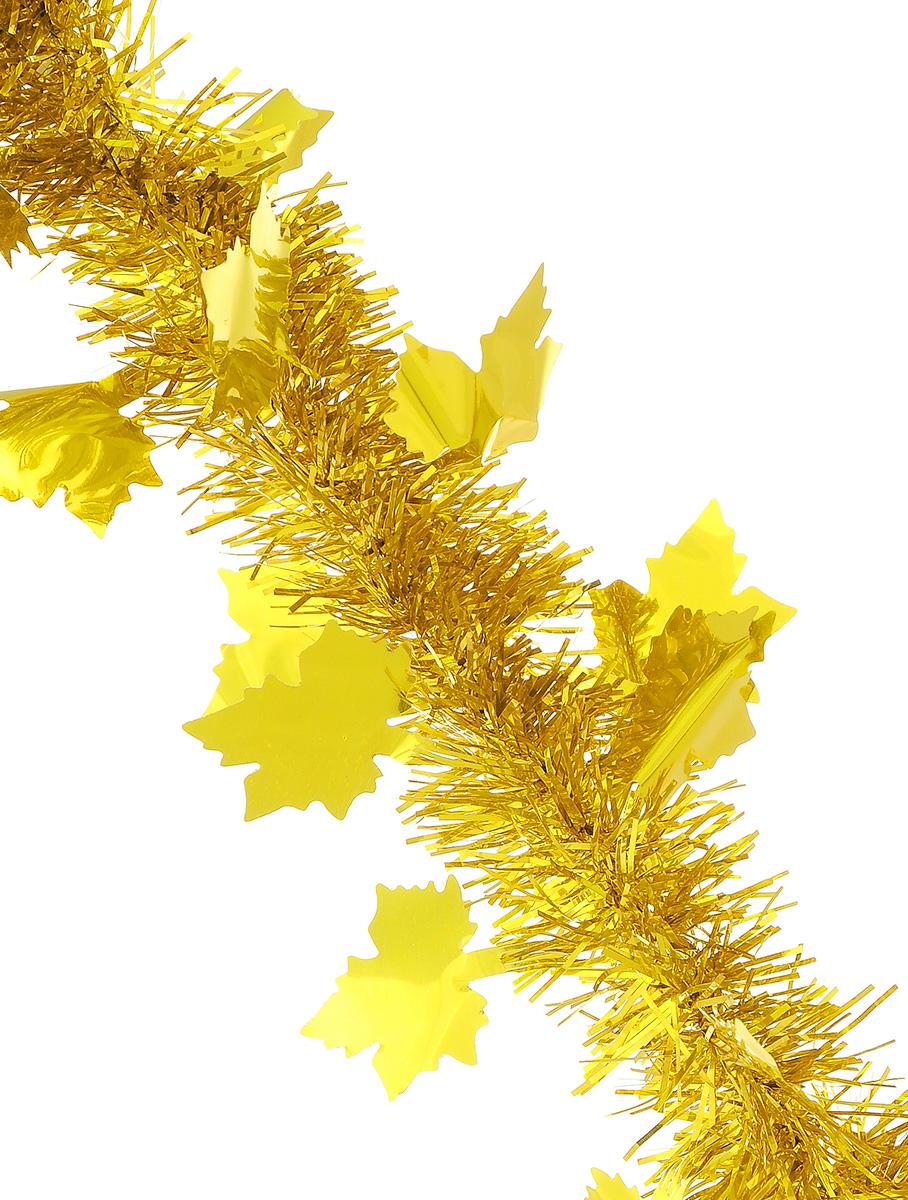 Мишура новогодняя Sima-land, цвет: золотистый, диаметр 5 см, длина 200 см. 702606702606_золотистыйНовогодняя мишура Sima-land, выполненная из фольги с дизайном в виде кленовых листочков, поможет вам украсить свой дом к предстоящим праздникам. А новогодняя елка с таким украшением станет еще наряднее. Мишура армирована, то есть имеет проволоку внутри и способна сохранять приданную ей форму. Новогодней мишурой можно украсить все, что угодно - елку, квартиру, дачу, офис - как внутри, так и снаружи. Можно сложить новогодние поздравления, буквы и цифры, мишурой можно украсить и дополнить гирлянды, можно выделить дверные колонны, оплести дверные проемы. Коллекция декоративных украшений из серии Зимнее волшебство принесет в ваш дом ни с чем несравнимое ощущение праздника! Создайте в своем доме атмосферу тепла, веселья и радости, украшая его всей семьей.