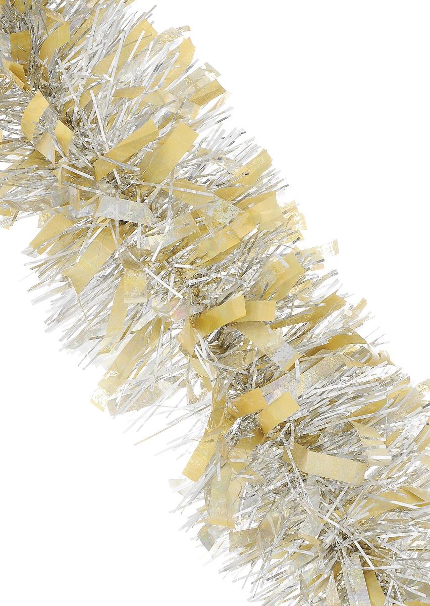 Мишура новогодняя Sima-land, цвет: золотисто-серебристый, диаметр 9,6 см, длина 200 см. 706596706596_желтый, серебристыйМишура новогодняя Sima-land, выполненная из фольги, поможет вам украсить свой дом к предстоящим праздникам. Мишура армирована, то есть имеет проволоку внутри и способна сохранять приданную ей форму. Новогодней мишурой можно украсить все, что угодно - елку, квартиру, дачу, офис - как внутри, так и снаружи. Можно сложить новогодние поздравления, буквы и цифры, мишурой можно украсить и дополнить гирлянды, можно выделить дверные колонны, оплести дверные проемы.