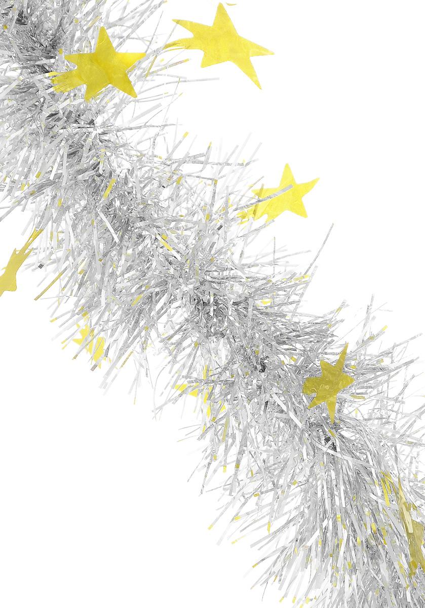 Мишура новогодняя Sima-land, цвет: серебристый, золотистый, диаметр 8 см, длина 200 см. 702600702600_серебристый, желтыйПушистая новогодняя мишура Sima-land, выполненная из двухцветной фольги, поможет вам украсить свой дом к предстоящим праздникам. А новогодняя елка с таким украшением станет еще наряднее. Мишура армирована, то есть имеет проволоку внутри и способна сохранять придаваемую ей форму. По всей длине изделие украшено фигурками из фольги в виде звездочек. Новогодней мишурой можно украсить все, что угодно - елку, квартиру, дачу, офис - как внутри, так и снаружи. Можно сложить новогодние поздравления, буквы и цифры, мишурой можно украсить и дополнить гирлянды, можно выделить дверные колонны, оплести дверные проемы.