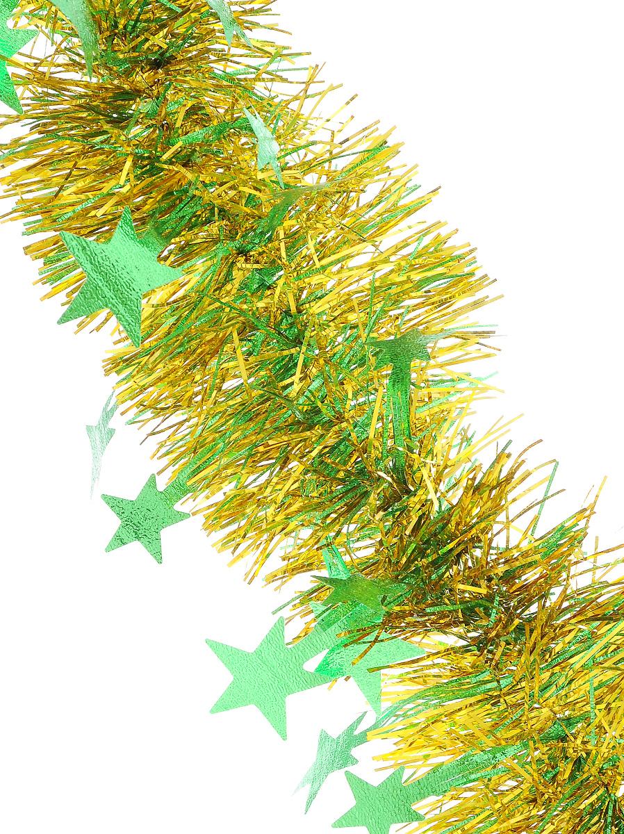 Мишура новогодняя Sima-land, цвет: салатовый, золотистый, диаметр 9 см, длина 200 см. 706597706597_салатовый, золотистыйМишура новогодняя Sima-land, выполненная из двухцветной фольги, поможет вам украсить свой дом к предстоящим праздникам. Мишура армирована, то есть имеет проволоку внутри и способна сохранять приданную ей форму. По всей длине изделие украшено фигурками из фольги в виде гофрированных звездочек. Новогодней мишурой можно украсить все, что угодно - елку, квартиру, дачу, офис - как внутри, так и снаружи. Можно сложить новогодние поздравления, буквы и цифры, мишурой можно украсить и дополнить гирлянды, можно выделить дверные колонны, оплести дверные проемы.