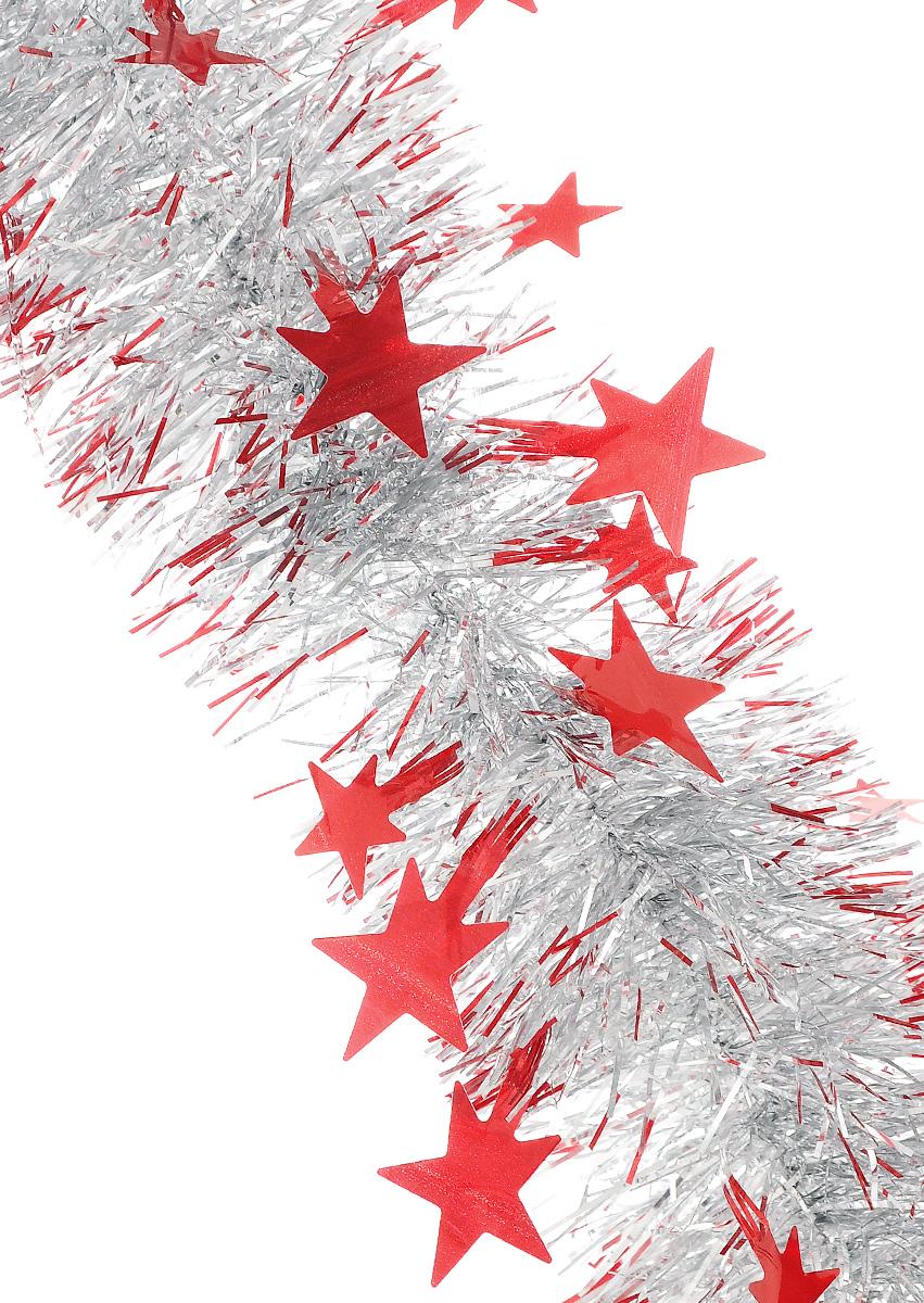 Мишура новогодняя Sima-land, цвет: серебристый, красный, диаметр 8 см, длина 200 см. 702600702600_красный, серебристыйПушистая новогодняя мишура Sima-land, выполненная из двухцветной фольги, поможет вам украсить свой дом к предстоящим праздникам. А новогодняя елка с таким украшением станет еще наряднее. Мишура армирована, то есть имеет проволоку внутри и способна сохранять придаваемую ей форму. По всей длине изделие украшено фигурками из фольги в виде звездочек. Новогодней мишурой можно украсить все, что угодно - елку, квартиру, дачу, офис - как внутри, так и снаружи. Можно сложить новогодние поздравления, буквы и цифры, мишурой можно украсить и дополнить гирлянды, можно выделить дверные колонны, оплести дверные проемы.