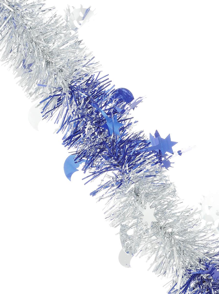 Мишура новогодняя Sima-land, цвет: серебристый, синий, диаметр 5 см, длина 200 см. 702608702608_серебристый, синийМишура новогодняя Sima-land, выполненная из двухцветной фольги, поможет вам украсить свой дом к предстоящим праздникам. Мишура армирована, то есть имеет проволоку внутри и способна сохранять приданную ей форму. Изделие дополнено фигурками месяца, солнца и звезд. Новогодней мишурой можно украсить все, что угодно - елку, квартиру, дачу, офис - как внутри, так и снаружи. Можно сложить новогодние поздравления, буквы и цифры, мишурой можно украсить и дополнить гирлянды, можно выделить дверные колонны, оплести дверные проемы. Коллекция декоративных украшений из серии Зимнее волшебство принесет в ваш дом ни с чем несравнимое ощущение праздника! Создайте в своем доме атмосферу тепла, веселья и радости, украшая его всей семьей.