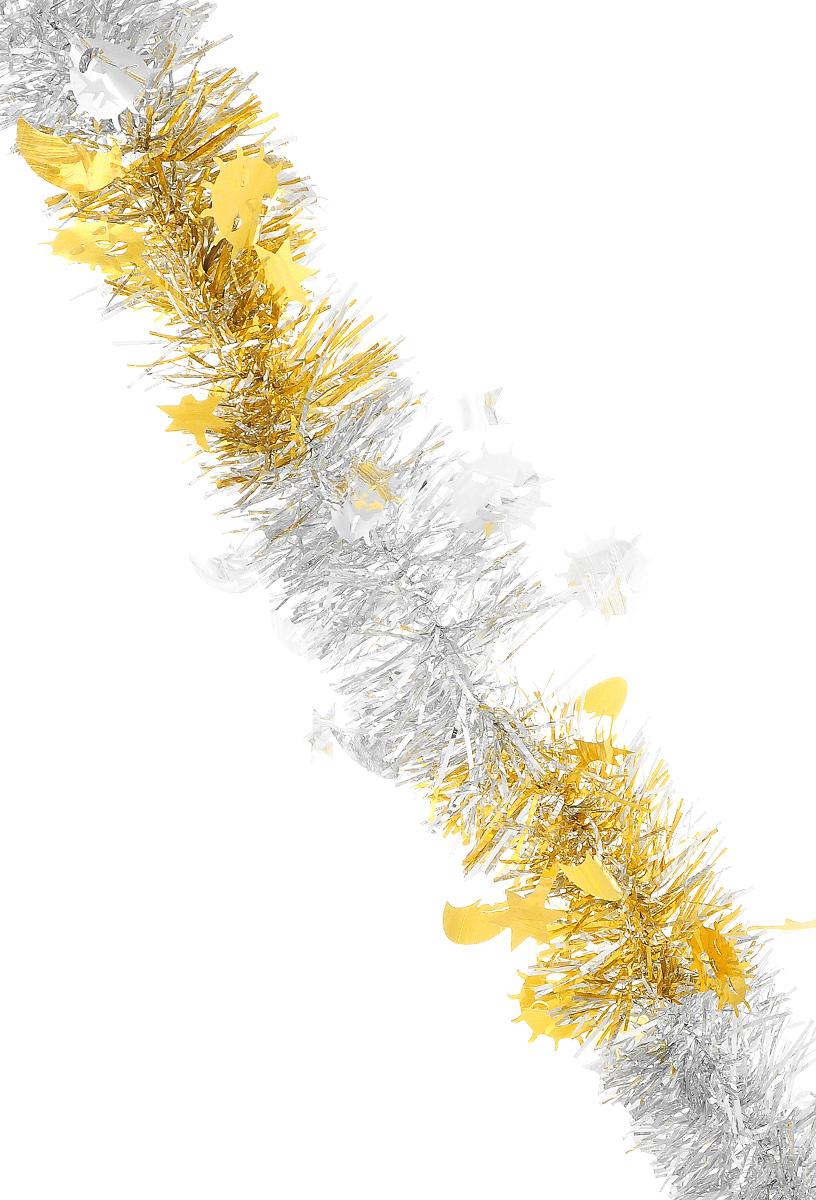 Мишура новогодняя Sima-land, цвет: серебристый, золотистый, диаметр 5 см, длина 200 см. 702608702608_серебристый, желтыйМишура новогодняя Sima-land, выполненная из двухцветной фольги, поможет вам украсить свой дом к предстоящим праздникам. Мишура армирована, то есть имеет проволоку внутри и способна сохранять приданную ей форму. Изделие дополнено фигурками месяца, солнца и звезд. Новогодней мишурой можно украсить все, что угодно - елку, квартиру, дачу, офис - как внутри, так и снаружи. Можно сложить новогодние поздравления, буквы и цифры, мишурой можно украсить и дополнить гирлянды, можно выделить дверные колонны, оплести дверные проемы. Коллекция декоративных украшений из серии Зимнее волшебство принесет в ваш дом ни с чем несравнимое ощущение праздника! Создайте в своем доме атмосферу тепла, веселья и радости, украшая его всей семьей.