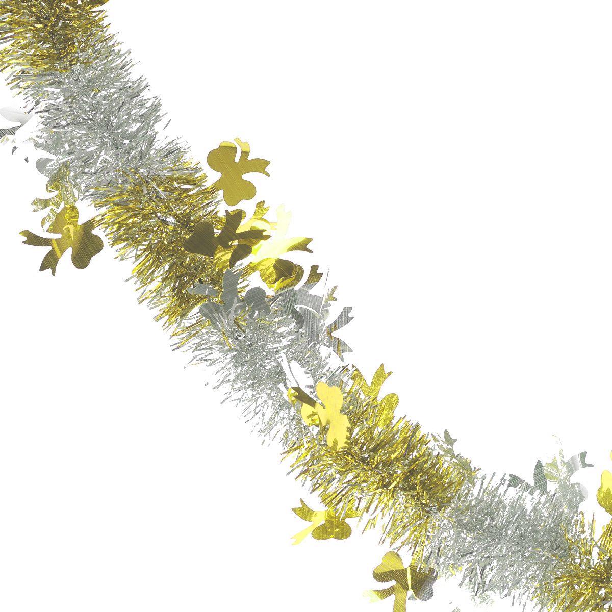 Мишура новогодняя Sima-land, цвет: серебристый, золотистый, диаметр 5 см, длина 200 см. 702605702605_желтыйМишура новогодняя Sima-land, выполненная из двухцветной фольги, поможет вам украсить свой дом к предстоящим праздникам. Мишура армирована, то есть имеет проволоку внутри и способна сохранять приданную ей форму. Новогодняя елка с таким украшением станет еще наряднее. Новогодней мишурой можно украсить все, что угодно - елку, квартиру, дачу, офис - как внутри, так и снаружи. Можно сложить новогодние поздравления, буквы и цифры, мишурой можно украсить и дополнить гирлянды, можно выделить дверные колонны, оплести дверные проемы. Коллекция декоративных украшений из серии Зимнее волшебство принесет в ваш дом ни с чем несравнимое ощущение праздника! Создайте в своем доме атмосферу тепла, веселья и радости, украшая его всей семьей.