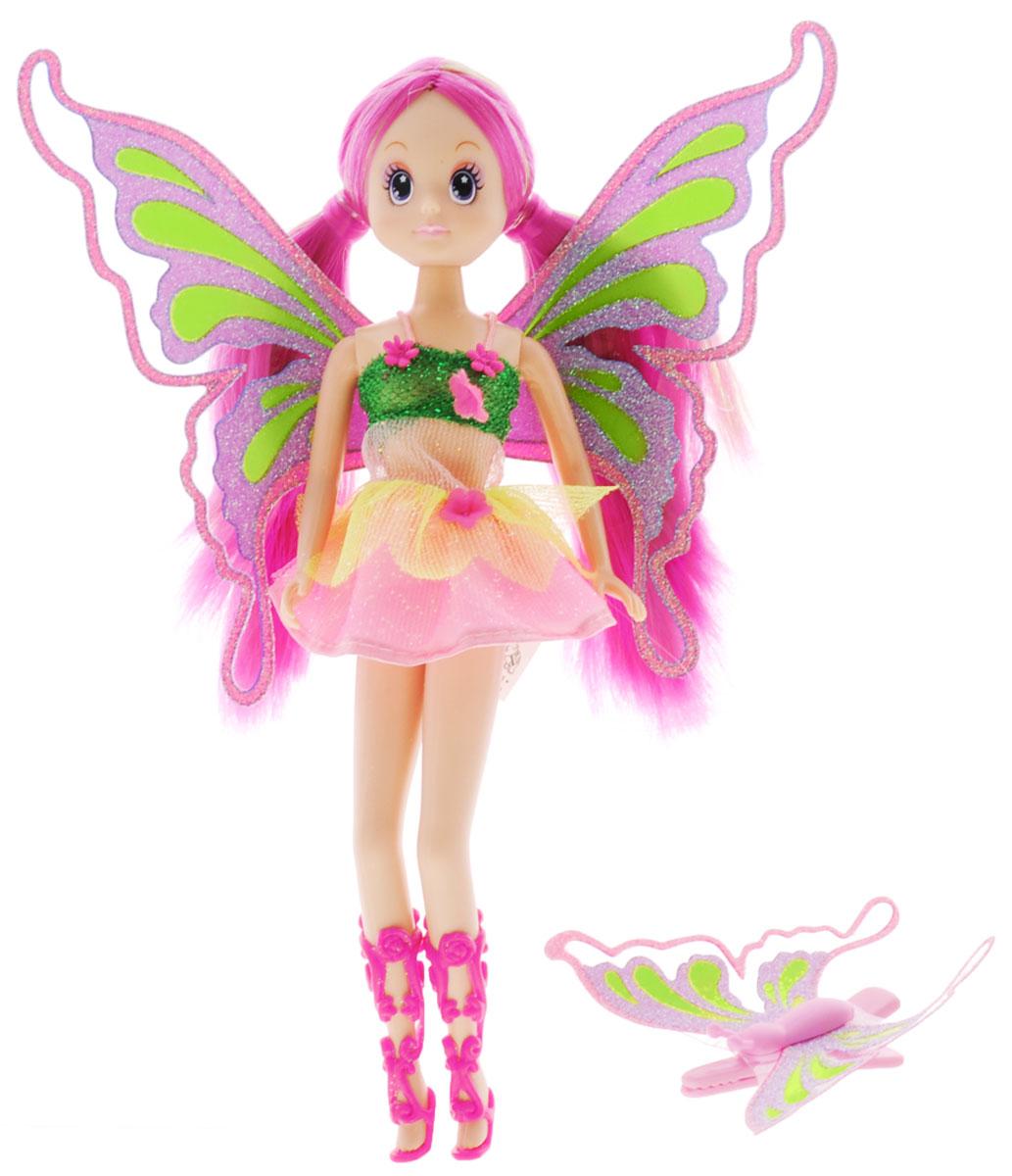 Simba Кукла Фея-бабочка цвет платья розовый зеленый5519064_лиф зеленый, юбка розоваяКукла Фея-бабочка порадует любую девочку и надолго увлечет ее. Фея выглядит просто волшебно! Она одета в короткое пышное платьице розового цвета с салатовым лифом. На ногах у куколки высокие розовые сандалии. Образ феи дополняют прозрачные блестящие крылышки, а розовые с зеленым волосы убраны в два симпатичных хвостика. Вашей дочурке непременно понравится заплетать длинные волосы куклы, придумывая разнообразные прически. В комплекте с куклой имеется подарок для ее маленькой хозяйки - розовая заколка для волос с крылышками, как у настоящей бабочки! Руки, ноги и голова куклы подвижны, благодаря чему ей можно придавать разнообразные позы. Игры с куклой способствуют эмоциональному развитию, помогают формировать воображение и художественный вкус, а также разовьют в вашей малышке чувство ответственности и заботы. Великолепное качество исполнения делают эту куколку чудесным подарком к любому празднику.