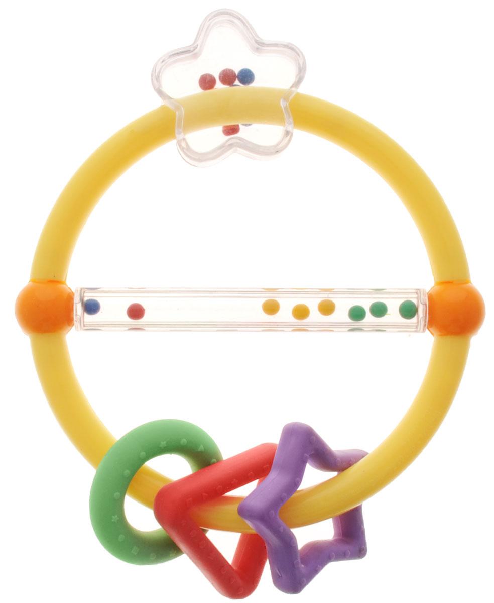 Simba Погремушка с подвесками цвет желтый4016959_желтыйПогремушка-прорезыватель привлечет внимание вашего ребенка и надолго останется его любимой игрушкой. Детская погремушка предназначена для детей в возрасте от трех месяцев. Погремушка выполнена в виде кольца, на котором подвешены резиновые фигуры в виде звездочки, кружка и треугольника и прозрачный цветочек. Погремушка разделена прозрачной трубкой с перекатывающимися там цветными шариками. Погремушка выполнена из высококачественного безопасного пластика, поэтому малыш может использовать ее как прорезыватель. В игровой форме малыш ознакомится с такими понятиями, как: звук, цвет и форма предмета.