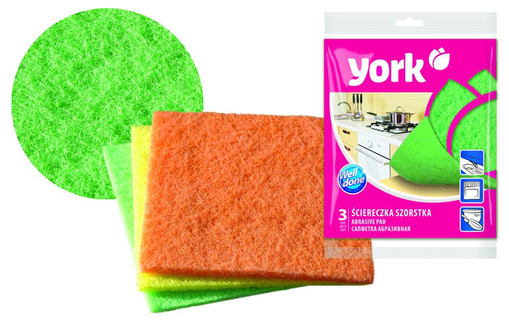 Губка абразивная York Бетти, 13 х 14 см, 3 шт3203Абразивная губка York Бетти эффективно удаляет сильные загрязнения, идеально подходит для чистки застарелых загрязнений на посуде и кухонной плите. Обладает повышенной прочностью, что обуславливает ее долговечность. В наборе - 3 разноцветные губки.